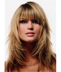 Layered Long Straight Human Hair WIth Bangs Wigs 16 Inches