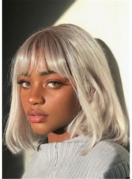 Grey Color Bob Straigjt Synthetic Hair With Bangs Wig 14 Inches