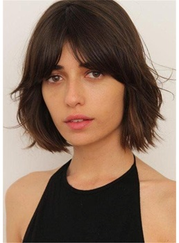 Short Bob Natural Straight Human Hair Women Wig 12 Inches