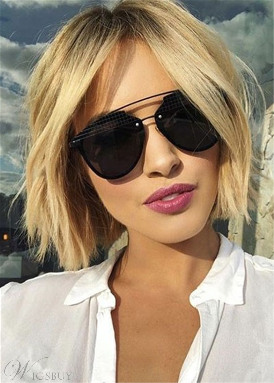 Cute Short Hair Cut Human Hair Straight Bob Wig 12 Inches