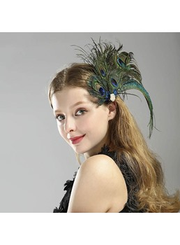 Women/Ladies Handmade Peacock Feather Pattern Hair Accessories Head Flower