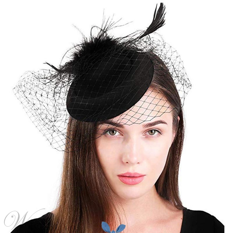 Lady Women's Fashion Style Feather Pattern Handmade Cloth Birdcage Veil Hair Accessories
