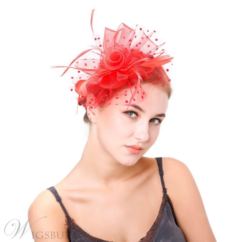 European Style Women/Ladies Feather Polka Dots Pattern Handmade Head Flower Hair Accessories
