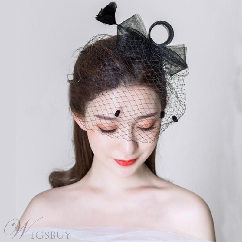Wedding Party Romantic Style Women's Handmade Feather Bowknot Birdcage Veil Hair Accessories