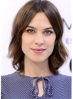 Alexa Chung Hairstyle Layered Bob Middle Parted Wavy Human Hair Wig 14 Inches