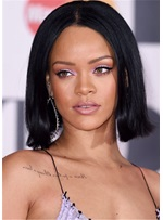 Rihanna Hairstyle Boxy Bob Synthetic Hair Natural Straight Wig 14 Inches