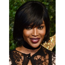 Bob With Fringe Naomi Campbell Hair Cut Natural Straight Human Hair Wig 12 Inches