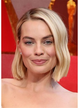 Margot Robbie Celebrity Wig Blunt Wavy Bob Synthetic Hair Wig 12Inches