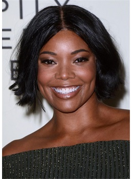 Gabrielle Union Hair Cut Choppy Bob Human Hair Straight Wig 14 Inches
