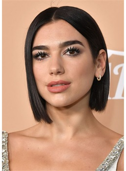 Dua Lipa Hair Cut Asymmetric Bob Middle Part Natural Straight Human Hair Wig