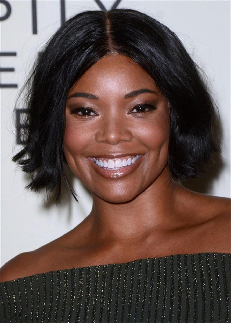 gabrielle union hair cut choppy bob cabello humano peluca recta 14 pulgadas