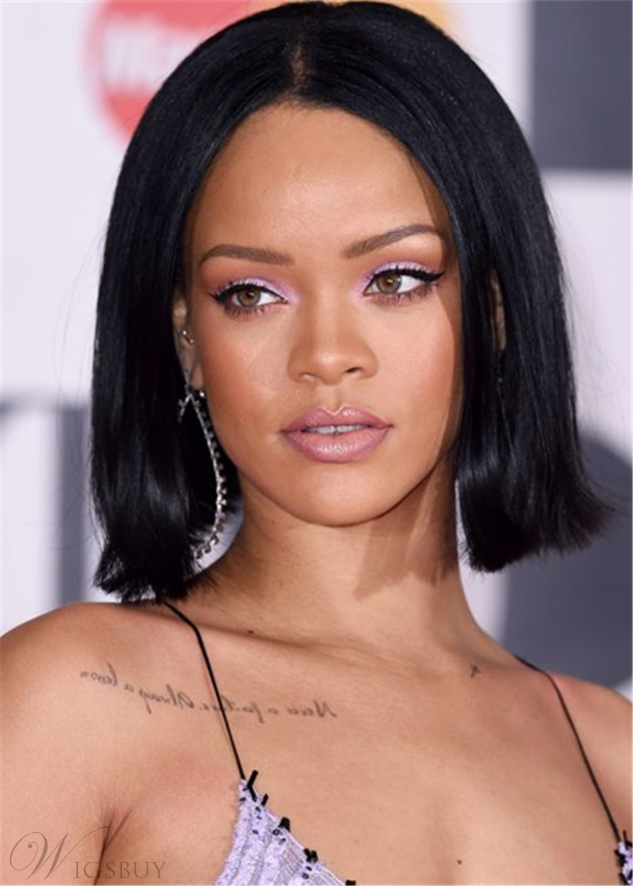 Rihanna Hairstyle Boxy Bob Synthetic Hair Natural Straight ...