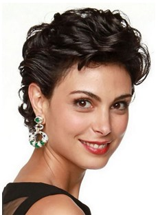 Morena Baccarin Hairstyle Women's Wedding Inspiration Curly Synthetic Hair Lace Front Cap Wigs 8Inch