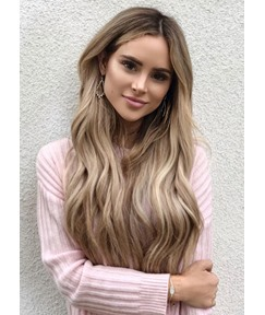 Middle Part Long Wavy Synthetic Hair Wigs For Women Natural Looking Capless Wigs 26Inch