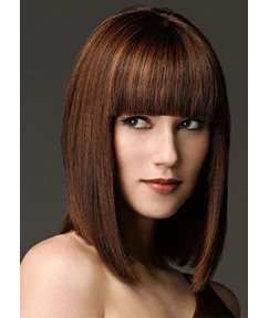 Medium Bob Hairstyles Heat Resistant Women's Straight Synthetic Hair Capless Wigs With Bangs 14Inch