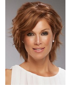 Short Shaggy Bob Hairstyle Women's Wavy Synthetic Hair Capless Wigs With Bangs 12Inch