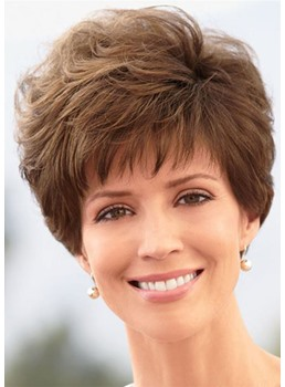 Women's Pixie Cut Wigs Short Stylish Fluffy Layer Wig Straight Synthetic Hair Capless Wigs with Bangs 8Inch
