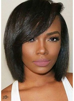 Short Bob Hairstyles Side Part Wigs With Bangs Straight Synthetic Hair Capless Wigs For African American 12Inch