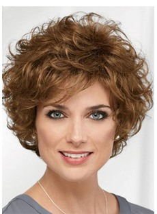 Short Curly Hairstyle Women's Natural Looking Brown Curly Synthetic Hair Capless Wigs 14Inch