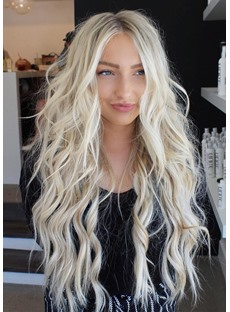 Women's Middle Part Long Wavy Blonde Synthetic Hair Capless Wigs 28 Inches