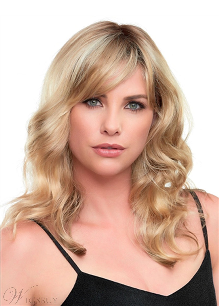 Sexy Women's Shaggy Bangs Medium layered Hairstyles Body Wave Synthetic Hair Capless Wigs 20Inch