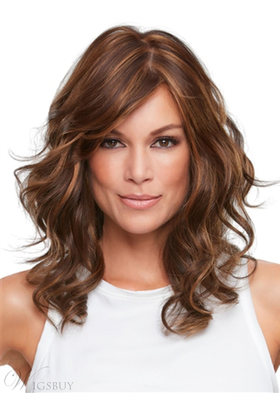 Layered Hairstyles Women's Lightweight Wavy Gorgeous Human Hair Wigs Lace Front Cap Wigs 18Inch