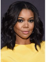 Women's African American Bob Hairstyles Middle Length Natural Wavy Human Hair Lace Front Wigs 16Inch