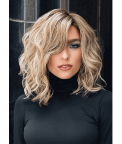 Women's Middle Length Side Part Tamed Open Waves Human Hair Lace Front Wigs 14Inch