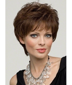 Women's Pixie Cut Short Hairstyles Natural Straight 100% Human Hair Wigs Lace Front Cap Wigs 10Inch