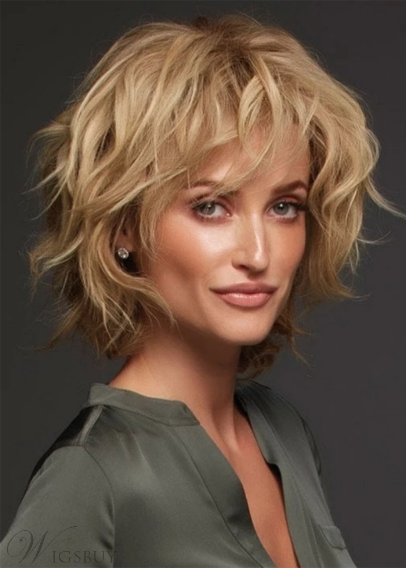 Women's Short Length Natural Wavy Layered Luxurious Remy Human Hair Natural Looking Lace Front Wigs 10Inch