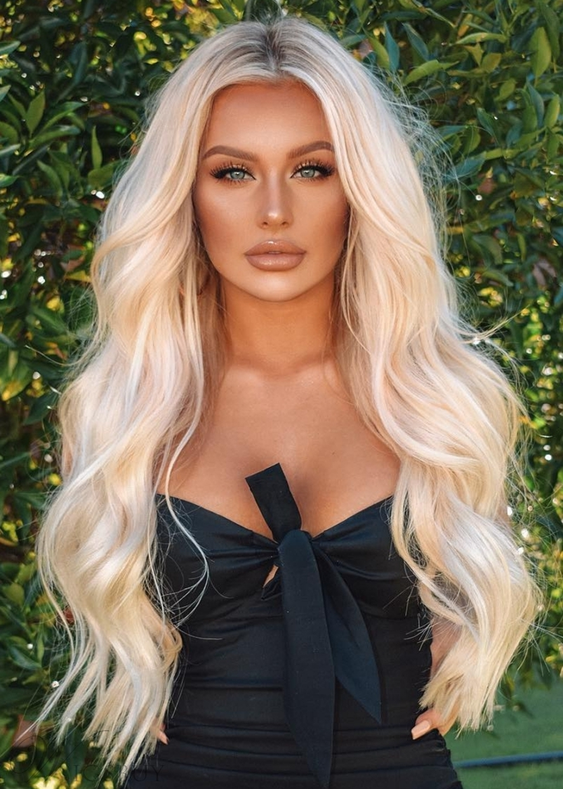 Women 's 613 Blonde Color Long Length Body Wave Human Hair Wigs Natural Looking Lace Front Wigs 28Inch