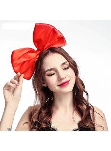 Women's Handmade Bowknot Plain Cloth Sweet Hairband for Prom Anniversary Wedding Party Birthday Gift