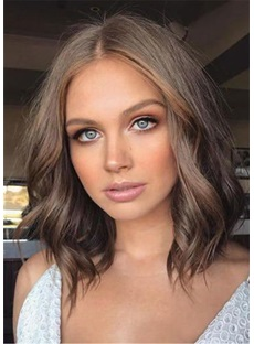 Middle Part Long Bob Wavy Human Hair Lace Front Wig 14 Inches