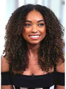 Middle Part Kinky Curly Synthetic Hair Lace Front Wig 18 Inches