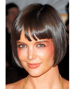 Short Bob Synthetic Straight Hair With Bangs Lace Front Women Wig 10 Inches