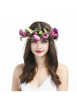 Women's Beautiful Bohemian Style Flower Wreath Headband Seaside Holiday Rose Hair Accessories Hairband