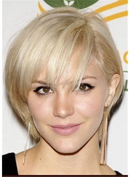 Short Bob Natural Straight Human Hair WIth Bangs Women Wig 10 Inches