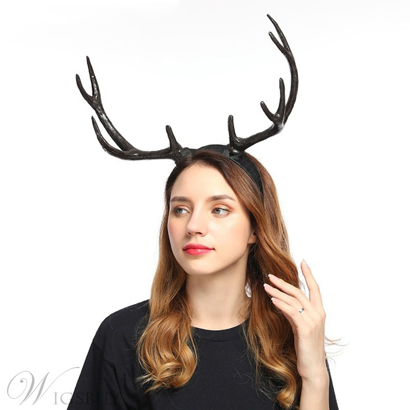 Christmas Halloween Antlers Wide Side Headband Adult Unisex Party Custom Hairband