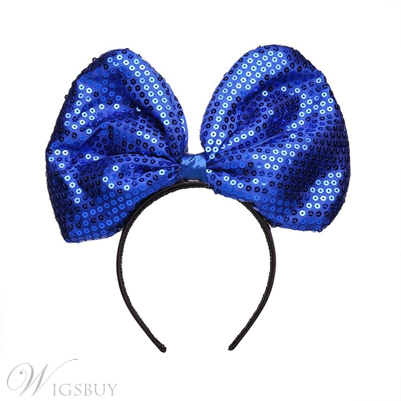 Hot-selling Women's Sequins headband Super Big Bow Halloween Christmas Cloth Sweet Hairband