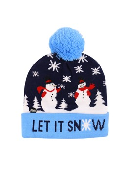 Unisex Christmas Brimless Cartoon Print Pompon Woolen Yarn Adjustable Knitted Hat