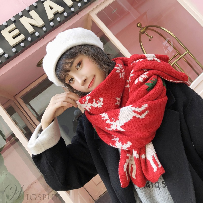 Christmas Gifts Fashion Unisex Rectangle Woolen Yarn Kintted Cartoon Pattern Print Scarf Shawl