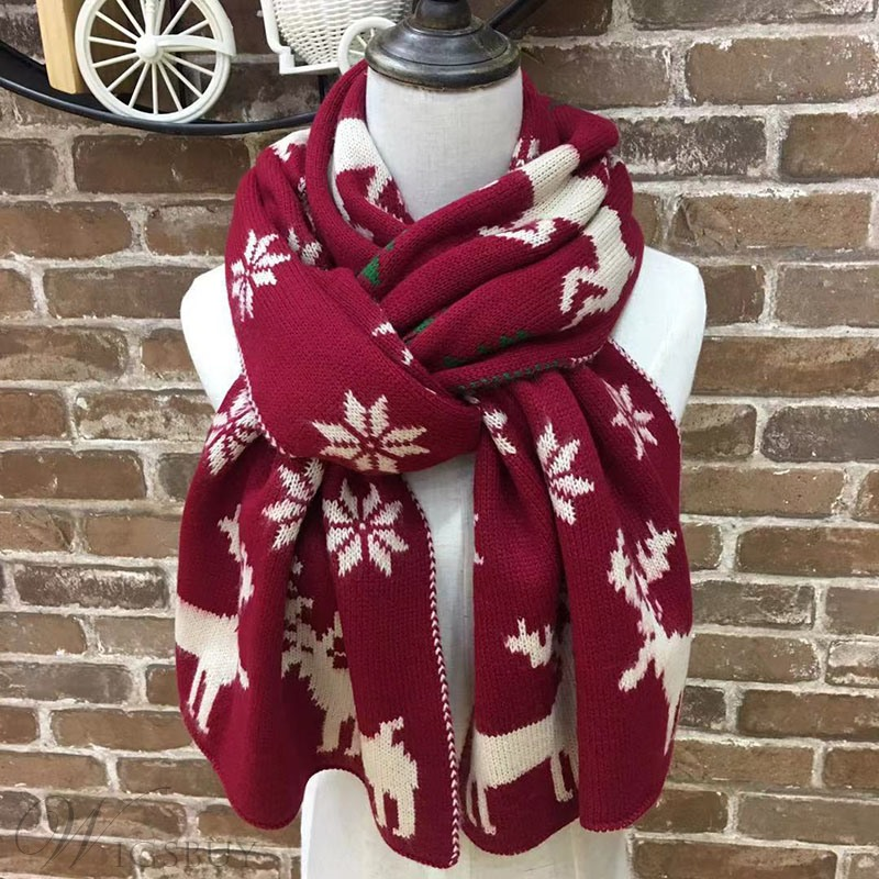 Christmas Fashion Unisex Rectangle Woolen Yarn Kintted Cartoon Pattern Print Scarf Shawl Christmas Gifts