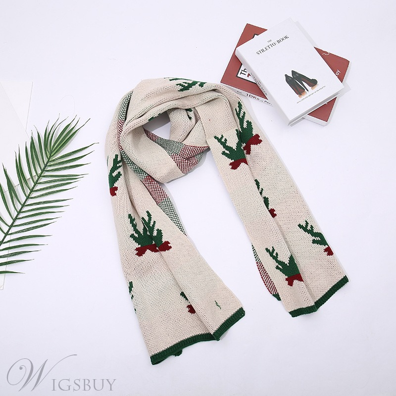 Christmas Gifts Unisex Casual Rectangle Acrylic Kintted Cartoon Pattern Print Scarf Shawl Over 175cm
