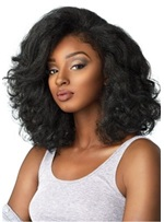 Long Bob Side Part Curly Synthetic Hair African American For Black Women Capless 16 Inches