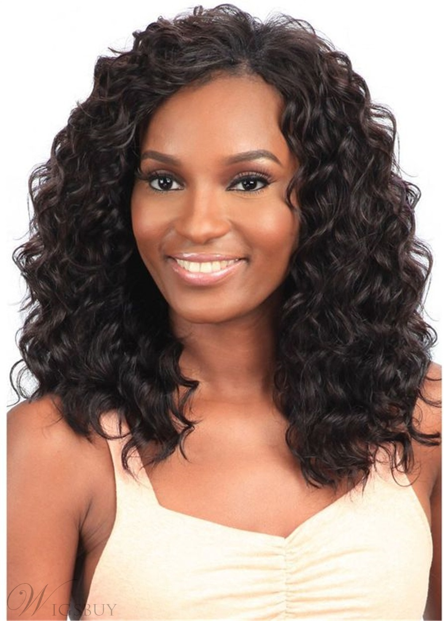 African American Wigs Long Bob Human Hair Curly Women Wig 16 Inches