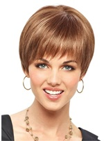 Fringe And Tapered Neck Synthetic Hair Natural Straight Wig 10 Inches