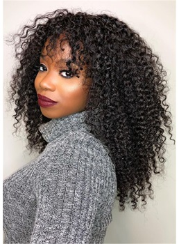 African American Wig Long Kinky Curly Human Hair Lace Front Wig 16 Inches