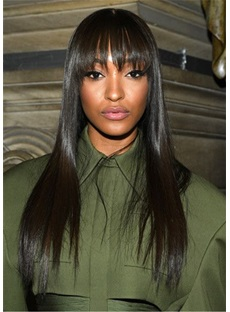 Long Human Hair Natural Straight With Bangs Women Wigs 22 Inches