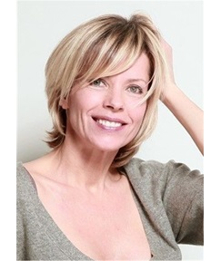 Short Layered Hairstyle Natural Straight Synthetic Hair With Bangs 12 Inches