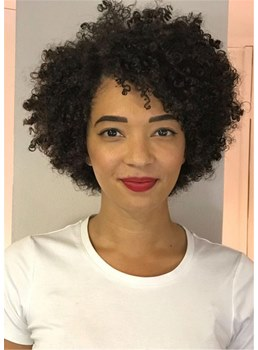 African American Wigs Short Afro Curly Synthetic Hair Women Wig 10 Inches